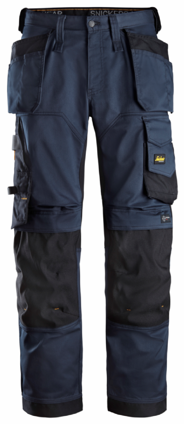 Snickers 6251 AllroundWork Stretch Loose fit Work Trousers Holster Pockets (Navy/Black)